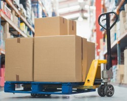 Pallet Jack loaded with boxes at Irish Moving Manhattan storage