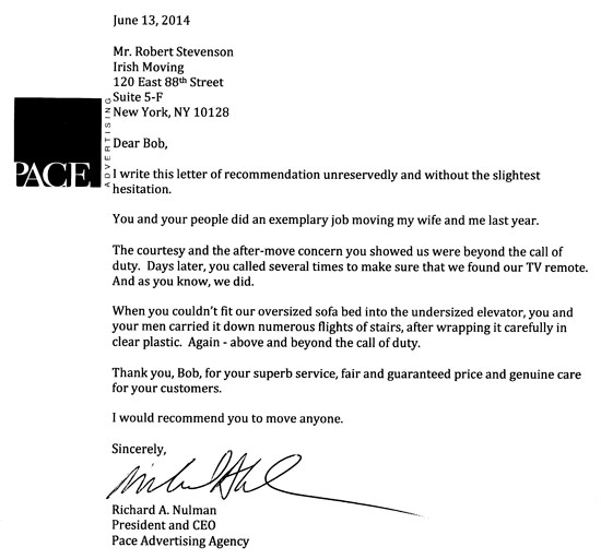 Testimonial letter for Irish Moving from Pace Advertizing. for more check our testimonial page